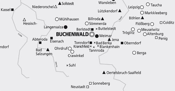 Karte der Außenlager des Konzetrationslagers Buchenwald